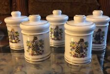 Antique Porcelain Apothecary First Aid 5 Pieces Set Made In Japan