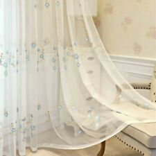 Pastoral Floral Embroidery Mesh Curtain Fabric Voile Window Panel Divider
