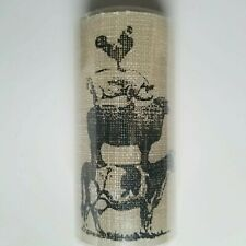 """Farmhouse LED Pillar Candle 6""""x3"""" Animal Stack Rooster Pig Cow Flameless Burlap"""