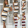 Women Short Sleeve Striped Midi Dress Ladies Summer Holiday Bodycon Dress Casual
