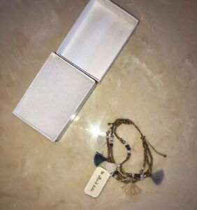 ALTAR'D STATE Gold And Blue Beaded And Tassled Bracelet NEW
