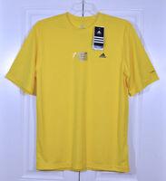 New Adidas MENS Gym Workout ClimaLite Yellow Tech Tee T Shirt SZ S M L XL