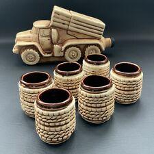 More details for stunning ceramic bottle shtof decanter alcohol truck with 6 shot glasses - empty