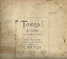Spartito Antico Torna! Melodia per Violino e Canto di Luigi Denza 1889