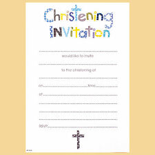 Boys Christening Invitations, Includes Invite Slips & Envelopes. Pack Of 20