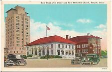 Kyle Hotel, Post Office and First Methodist Church in Temple TX Postcard