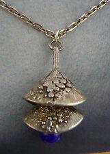"1970 Modernist Hallmarked Silver Lapis Lazuli Pendant 30"" & 18"" Chain"
