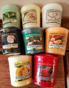X8 YANKEE CANDLE  assorted CANDLE BUNDLE 49g midsummer, aloe, lemon, Christmas