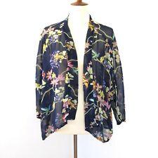 Carmen Marc Valvo M Medium Floral Open Front Kimono