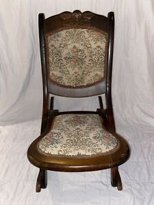 Antique Victorian Wooden Folding Rocking Chair - Tapestry Back & Seat