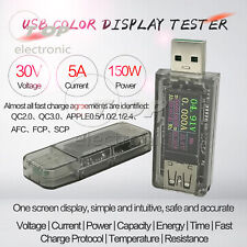 5A USB Tester Color Screen Voltage Ammeter Power Capacity Fast Charge Protocol