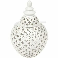 Hamptons Coastal Style Gloss White Miccah Temple Jar White Small 26 cm