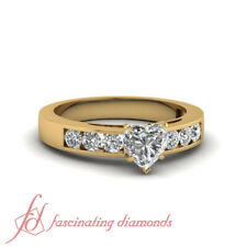 3/4 Ct Heart Shaped Channel Set Diamond Ring With Round Accents In Yellow Gold