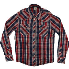 True Religion Blue Red Plaid Pearl Snap Western Style Shirt Men's 2XL