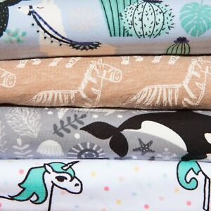 Jersey Cotton Print Stretch Fabric Metre or Half Floral Kids Animals Sea life
