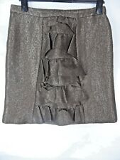 JIGSAW Skirt Size 12 Bustle Wool Linen Blend Brown Gold Metallic A-Line Festive