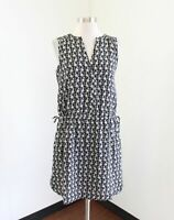 NWT $69 GAP Black Off White Floral Side Tie Drawstring Dress Size XS Casual