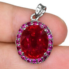 BLOOD RED RUBY OVAL PENDANT SILVER 925 HEATING 9.0 CT 13X11 MM.