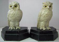 Antique SNOW OWL Decorative Art Bookends circa 1920s deco era orig old paint mtl