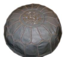 Grey leather moroccan pouf- Moroccan Pouf Ottoman Grey-Grey Moroccan Pouf pouffe