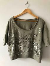 3bf39b5074cad Cotton Top with Sequin in Green Size M Almost new