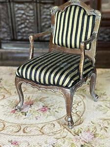 Vintage Miniature Dollhouse Artisan Black Striped Silk Distressed Arm Chair OOAK
