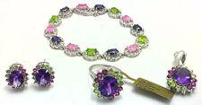 GENUINE Peridots, Amethyst & Pink Sapphires RING, BRACELET & EARRINGS SET 14K