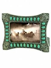 Montana West Turquoise Stone Concho Resin Leather Texture Photo Frame Mwf-1670
