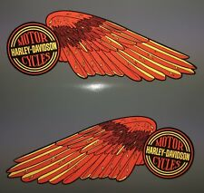 Harley-Davidson HIGH REFLECTIVE WINGS fuel tank decals Shovelhead Red & Gold