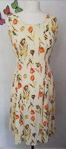 Vintage floral yellow dress UK 12 waist tie back crepe 80s 90s sleeveless