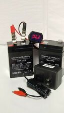 2Pk 6VOLT 4.5AH Rechargeable Sealed 6V SLA Battery w Wall Charger & LED meter
