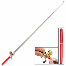 """38"""" Mini Portable Pocket Alloy Fishing Rod Rack Pen Backpack and River Reel RED"""