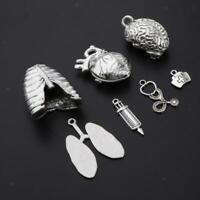 7pcs Vintage Lung Brain Heart Shaped Charms Human Organ Necklace Pendants