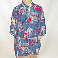 Vintage Made in Italy Riscatto Impressionist Blue Multi Camp Club Rayon Shirt 3X