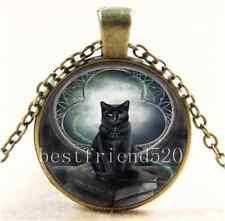 Vintage Black Cat And Moon Cabochon Glass Bronze Chain Pendant  Necklace