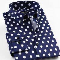 Polka Dot Long Sleeve Shirt Summer Casual Shirt Men Male Formal Wear New S-4XL