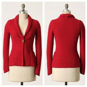 Anthropologie Charlie & Robin Honey From The Bees Cardigan Medium Red