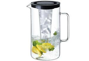 Krug mit Eiseinsatz 2,5l Glas Deckel Glaskaraffe Wasserkrug Kühlkaraffe Kanne
