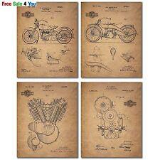 "Harley Davidson Patent Wall Art Prints Poster Home Decor Set of 4 Photos 8x10"""