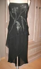 Stijlvolle zwarte zijden jurk / silk dress van InWear met kettingen NIEUW NEW