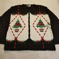 Vintage Beldoch Popper Womens Sz L Cardigan Handknit NWT Holiday Sweater 980