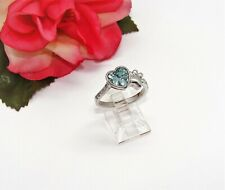 Blue Rhinestone Heart Paw Ring Size 7! So Sweet! Ij Silvertone Cubic Zirconia &
