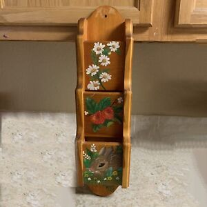Wall Mounted Wood Letter Organizer FLAW Hand Painted Vintage Bunny