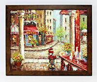 French Bistro Streetscene 16 x 20 Art Oil Painting on Canvas w/ Custom Frame