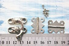 Jewelry Gift Box Latch Hasp Wood Wine Chest Catch Clasp Hook Silver Tone+Hinges