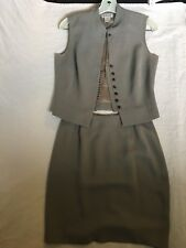 GEORGIOU STUDIO Women 2 PIECE GRAY Print Vest/Skirt Sz 8 top, Sz 6 bottom