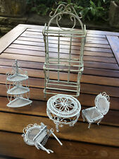 Doll House Furniture Garden Patio Table and 2 Chairs 2 Plant Stands White Metal