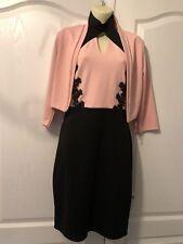Debenhams Quiz Pink & Black Party Wedding Dress & Bolero Size 12 Choker Neck