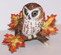 "LOVELY LENOX FINE PORCELAIN SAW WHET OWL WITH LEAVES 3 3/4"" BIRD FIGURINE"