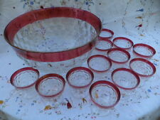 VTG.WHITEHALL RUBY FLASH PUNCH SET 13 PC.GORGEOUS FOOTED CUPS.